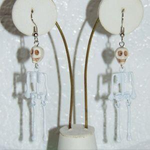 White Skeleton Dangle earrings